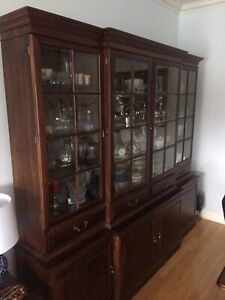 Solid cherrywood breakfront china cabinet