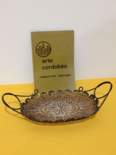 Vintage Spanish Filigree Sterling Silver Dish Arte Cordobes Espana W/ Pamplet