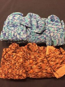 2 Knitted Toddler Sweater, Hat and Mitts Sets