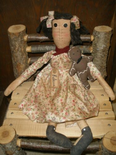 Primitive Country Doll Rebecca with Gingerbread Friend 22""