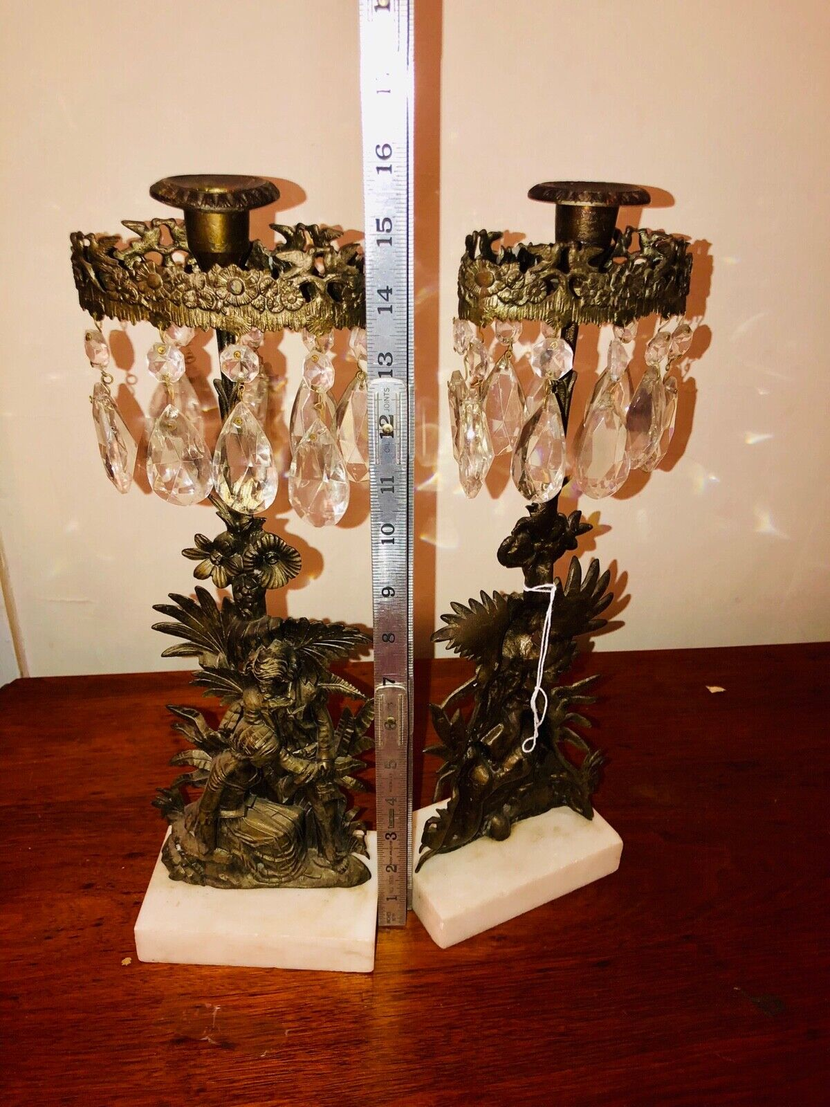 Pair Mid Century Antique Vtg Candelabras Candle Holders Glass Crystals Ornate  - $150.00