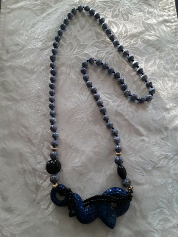 Vintage Lapis Necklace with Serpent