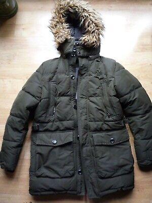 Zara Man Men's Jacket Parka Oliver Green Detachable Hoodie Winter Warm Size M comprar usado  Enviando para Brazil