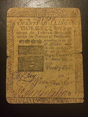 1757 Twenty 20 Shillings Pennsylvania Colonial Currency Benjamin Franklin D Hall