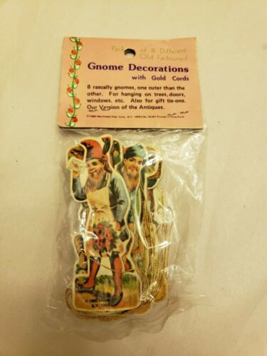 LOT OF 8 Vintage 1980 Merrimack  Gnome Ornaments Die Cut Double Sided NIP