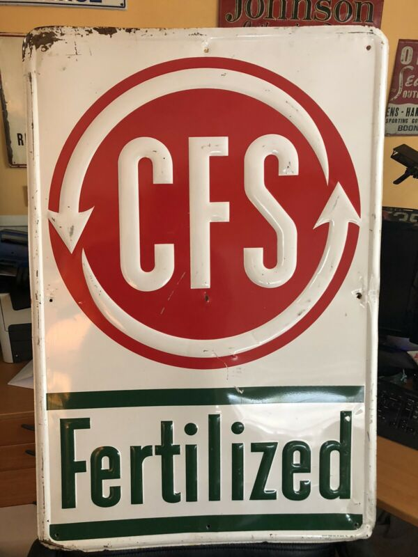 Original Embossed CFS Fertilizer Dealer Sign Stout Sign Co. Farm Feed Seed