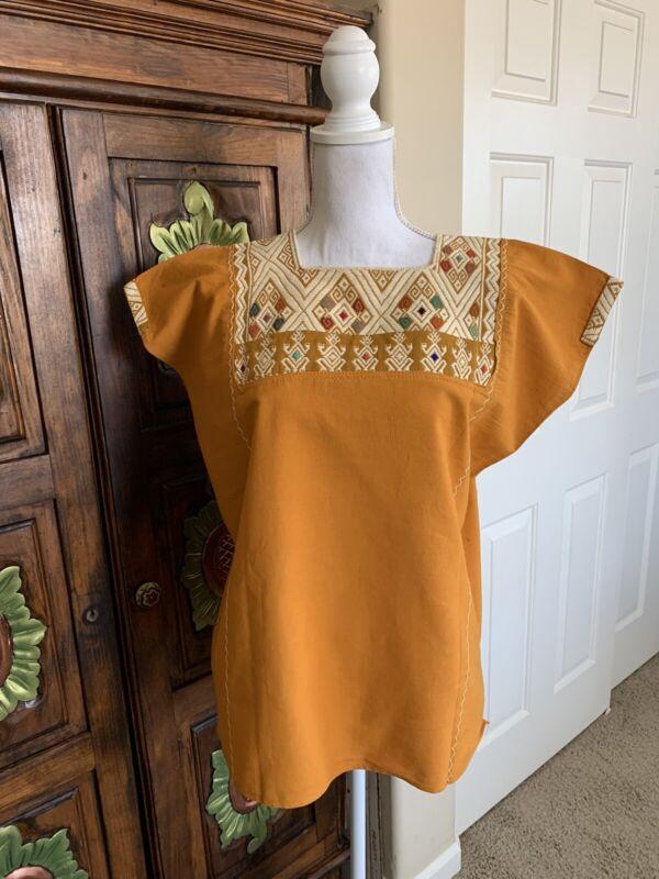 Huipil Tunic Hand Woven Orange Color Mayan Chiapas Mexico Boho Hippie Cowgirl L