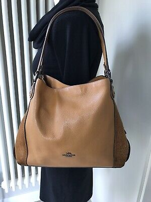 GENUINE COACH *EDIE* LIGHT SADDLE LEATHER SUEDE TAN SHOULDER SLOUCH BAG