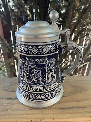 Blue German Beer Stein BAYERN Bavaria Pewter Lid Pub Bar Drink Lion Excellent