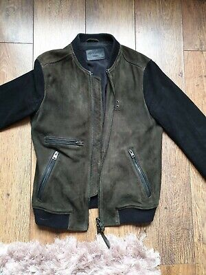 All Saints Men's FREIGHT BOMBER Suede Jacket Size UK Small