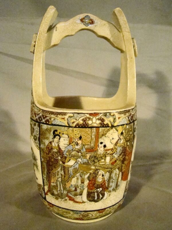 Antique Meiji Satsuma Art Pottery Hand Painted Water Bucket 19th c