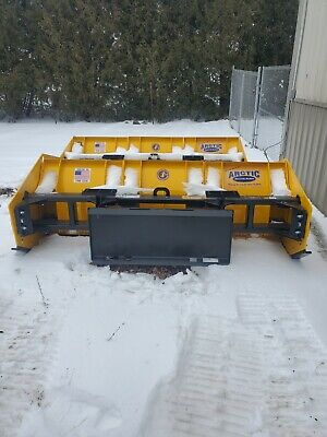 8 Ld Arctic Sectional Snow Pusher Plow With Skid Steer Quick Attach Brand New