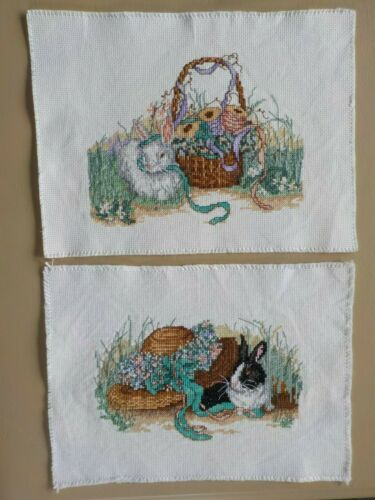 Cross Stitch - Completed -  Finished -  Lot of 2 - Bunny Rabbits & Flowers