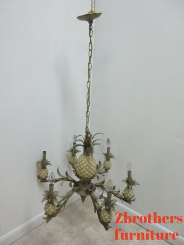 Ethan Allen Gold French Regency Pineapple Chandelier Hanging Light