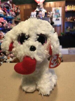 "Ty HONEY BUN -Beige w/Heart Bichon Frise Valentine's 6"" Beanie Boo *Retired* HTF"