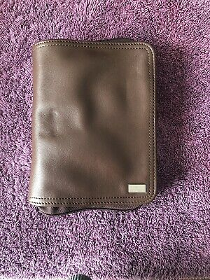 Franklin Covey Quest 6 Ring Binder Small Planner Brown Nappa Leather Gently Used