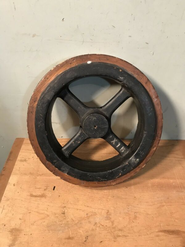 "Vintage Old Industrial Factory Wood Pulley Wheel Steampunk Design Salvage 14"""