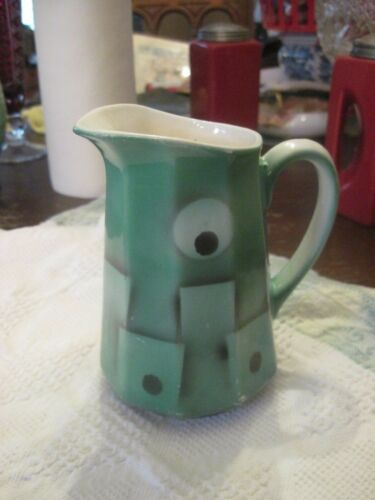 Vintage MCM Czech Art Deco Block Pattern Pottery Ceramic PITCHER HP RARE