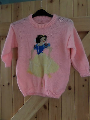 "New Hand Made Snow White Jumper In Baby Pink  Chest 32"" Approx To 5 - 8 Yrs"