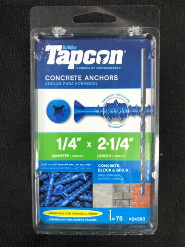 24380 Tapcon 75-Pack 2-1/4-in x 1/4-in Concrete Anchors