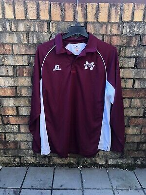 NEW Mississippi State Bulldogs Long Sleeve Polo Shirt Mens XL Team Issue State Long Sleeve Polo