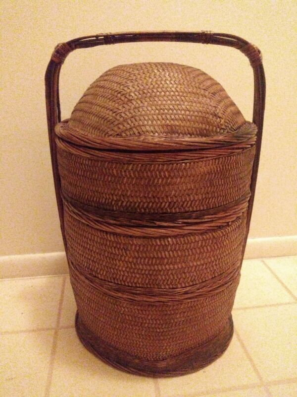Antique Stacking Chinese 3 Tier Bamboo Marriage Basket Sewing Storage Asain