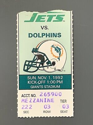 1992 New York Jets Ticket Stub Vs Miami Dolphins Dan Marino 2 TD Passes