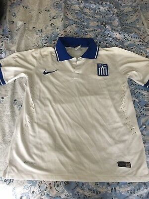 2014 WORLD CUP GREECE SOCCER JERSEY SIZE SMALL PLAYER VERSION image