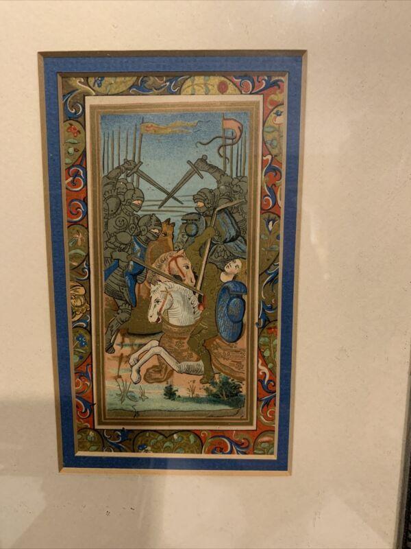 Illuminated Manuscript Leaf, Knights On Horses Matted & Framed