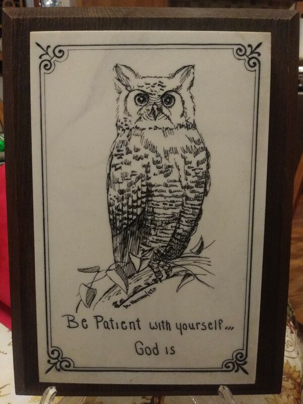 Vintage, Owl With Saying Engraved on Soapstone Tile?Mounted, Wood Plaque ,signed