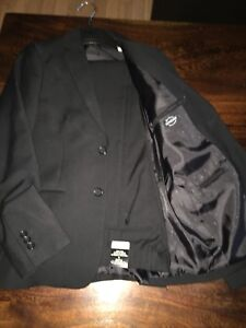 Suit - jacket and pants, black. Comes with Blue button up shirt.
