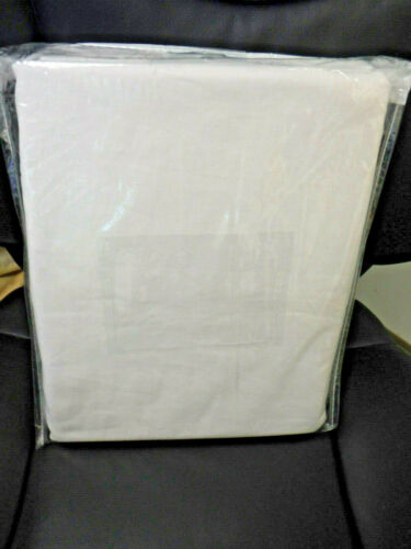 "Pottery Barn Essential WHITE Cotton Linen Full Bed Skirt 14"" Drop Bedskirt *NEW*"