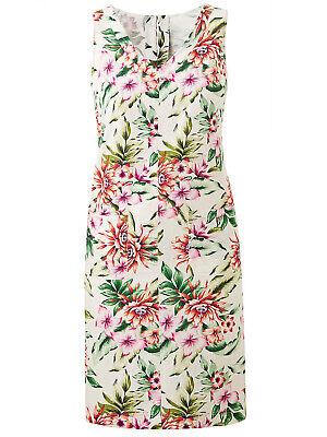New Size 14,16,18,24,26 White Floral Print Linen Blend Sleeveless Shift Dress b5