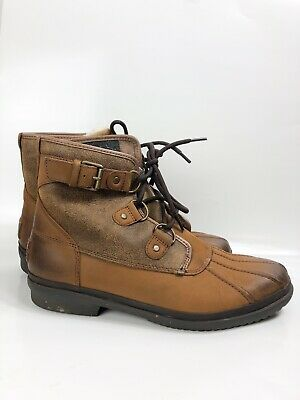 UGG Cecile Waterproof Duck Boots Womens Size 9.5 Chestnut S/N 1007999 Excellent