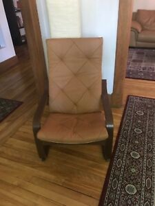 IKEA poang leather chair