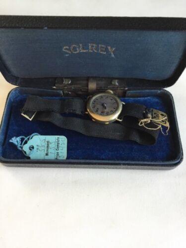 Vintage Solrex Watch Co 15 Jewels 3 Adj Swiss Wadsworth Pilot Quality Watch