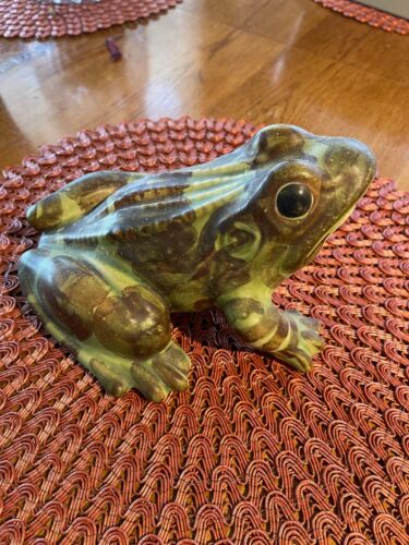"""VINTAGE LARGE 8"""" OPEN MOUTH BRUSH MCCOY POTTERY SPOTTED YARD GARDEN FROG"""