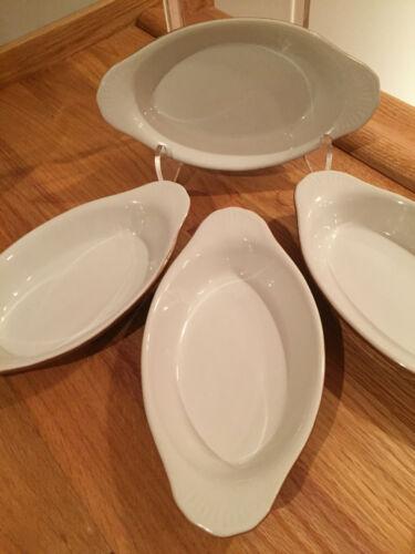 Ultima Ceramic Au Gratin Casserole Oval Baking Dish / Ramekin Set of 4 VTG EUC