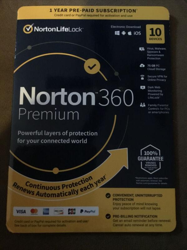Norton 360 PREMIUM 10 Devices 1 Year For Windows/Mac/Mobile NEW