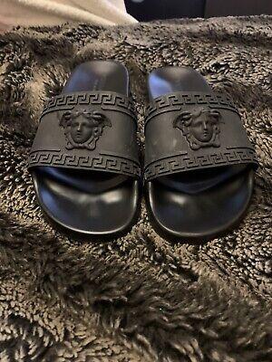 Mens Versace Sliders Sandals Flip Flops Black Size 9 100% original. No box.