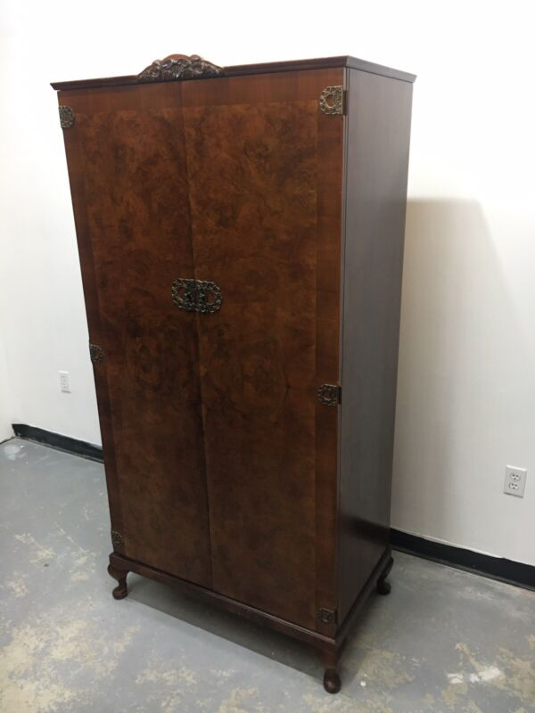 Stunning Antique English Burl Walnut Wardrobe Armoire Chifforobe Brass Accents