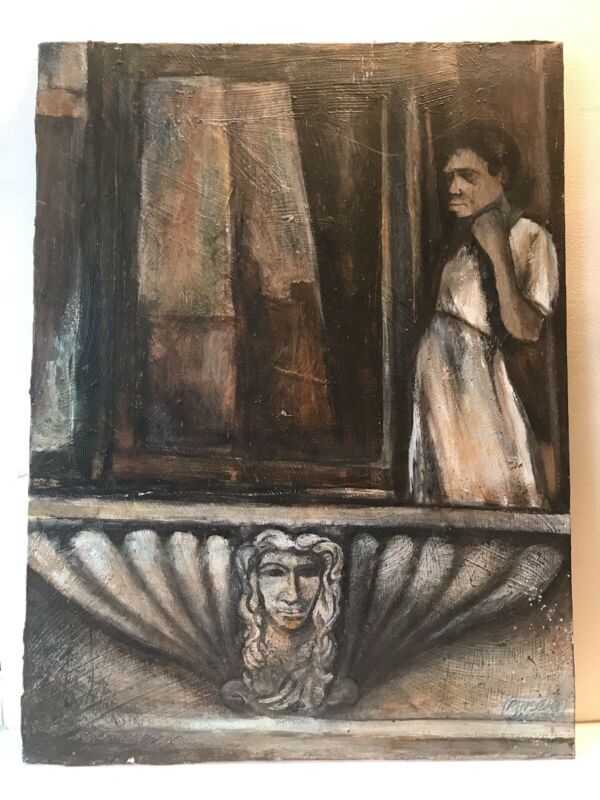 Oil Painting African American Woman Signed McLeod 1972 Balcony New Orleans Art?