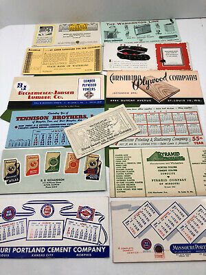 13 Vintage Ink Blotters Illinois Bank Insurance Cement Companies 1940's-1950's