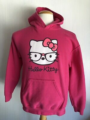 Nerdy Glasses Kitty Men's Bright Pink Hoodie Size Small (Nerdy Hello Kitty)