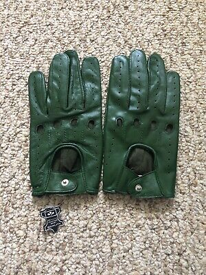 Men's Driving Green leather Gloves  Size X - Green Gloves