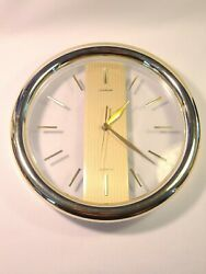 Vintage Sunbeam Gold Wall Clock Battery Mid Century Round Clear - Tested / Works