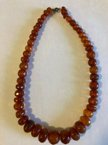 Vintage Genuine Natural Baltic Amber Faceted Beads Necklace 75 grams