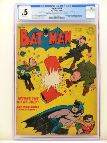 BATMAN #18 1943 CGC 0.5 Golden Age DC Comic RARE COVER Hitler Hirohito Mussolini
