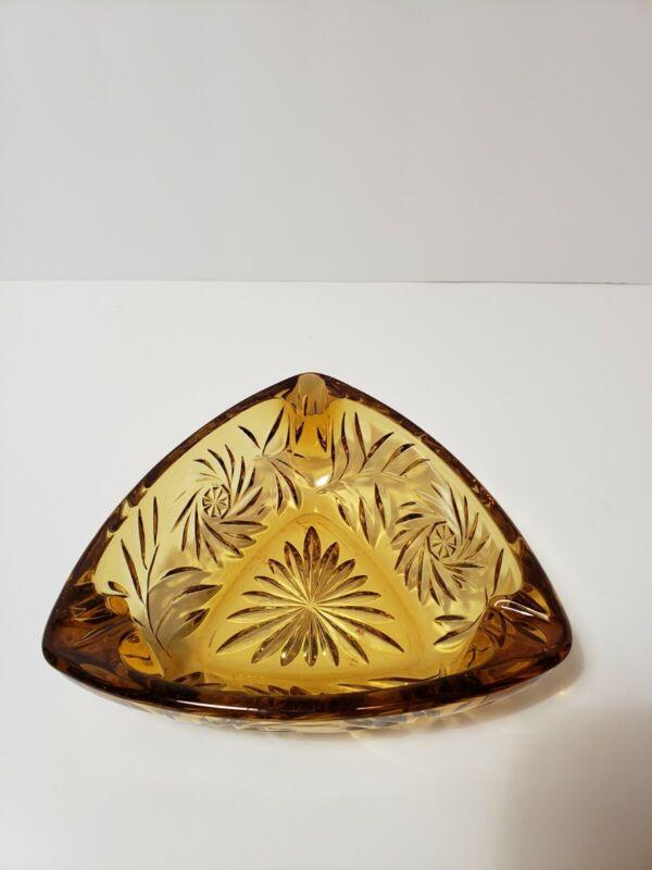 "Hazel Atlas Vintage Triangle Amber Glass Cigar/Cigarette Ash Tray Heavy 6 7/8"""