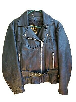 Vintage Mens Hudson Genuine Leather Motorcycle Biker Jacket Black Size M Belted